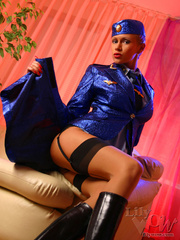 Lustful stewardess in a blue shiny - Sexy Women in Lingerie - Picture 5