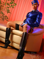 Lustful stewardess in a blue shiny - Sexy Women in Lingerie - Picture 6
