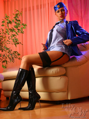Lustful stewardess in a blue shiny - Sexy Women in Lingerie - Picture 7
