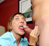 Nasty milf in a blue blouse suddenly gets wild and…