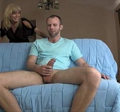 Dirty blonde mom helps dude to cum with her mouth…