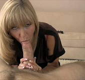 Dirty blonde milf in a black blouse giving a deep…