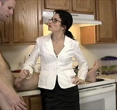 Modest brunette milf in a white jacket and glasses…