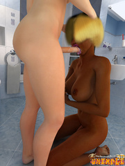 Blonde ebony T-girl with big jugs drilling hard her - Picture 6