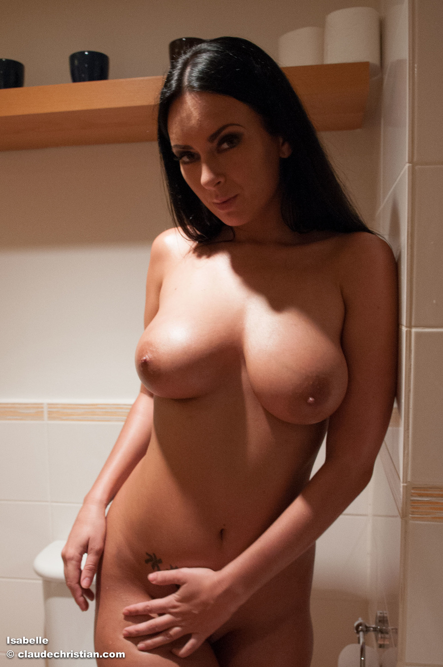 Understood busty brunette blowjob bathroom
