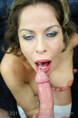 Curly mom in a funny top and stockings swallows man's meat before fucking and final facial - XXXonXXX - Pic 7