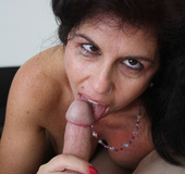 Busty brunette mom in stockings and with a pierced…