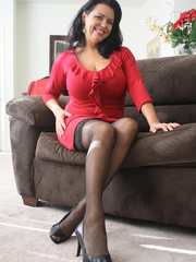 Gorgeous brunette milf in a red sexy dress and - XXXonXXX - Pic 1