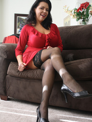 Gorgeous brunette milf in a red sexy dress and - XXXonXXX - Pic 2