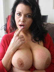 Gorgeous brunette milf in a red sexy dress and - XXXonXXX - Pic 6