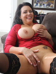 Gorgeous brunette milf in a red sexy dress and - XXXonXXX - Pic 7