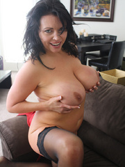 Gorgeous brunette milf in a red sexy dress and - XXXonXXX - Pic 9