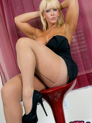 Busty blonde mom in black dress, - Sexy Women in Lingerie - Picture 6