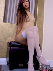 Tattooed Asian chick in white - Sexy Women in Lingerie - Picture 9