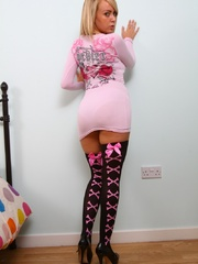 Hot blonde teen bitch in a lovely pink jumper and lack - Picture 1