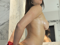Busty brunette bitch tied up with red ropes - XXX Dessert - Picture 3