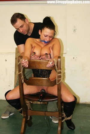 Hot ponytailed brunette babe in a corset - XXX Dessert - Picture 12