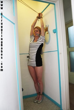 Blonde chick in a striped dress gets gag - XXX Dessert - Picture 2