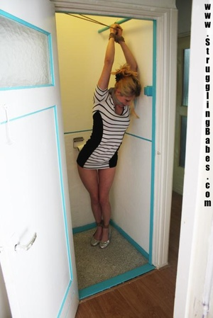 Blonde chick in a striped dress gets gag - XXX Dessert - Picture 5