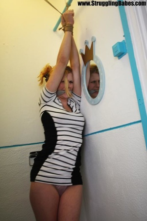 Blonde chick in a striped dress gets gag - XXX Dessert - Picture 9