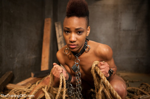 This small-titted black bitch with short-hair loves hard dirty banging with ropes and different bdsm toys - XXXonXXX - Pic 4