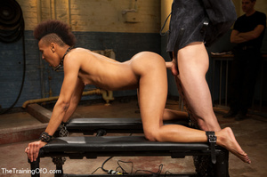 This small-titted black bitch with short-hair loves hard dirty banging with ropes and different bdsm toys - XXXonXXX - Pic 11