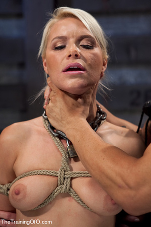 Blonde ponytailed bitch roped in karada style gets punished violently and fucked before final blowjob - XXXonXXX - Pic 4