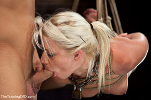 Blonde ponytailed bitch roped in karada style gets punished violently and fucked before final blowjob - XXXonXXX - Pic 5