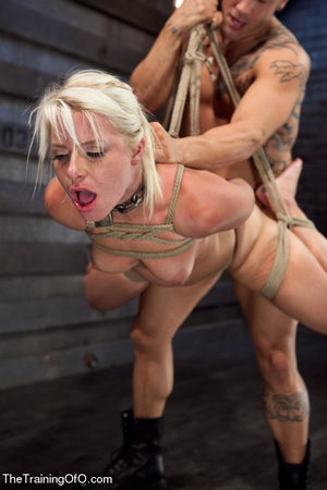 Blonde ponytailed bitch roped in karada style gets punished violently and fucked before final blowjob - XXXonXXX - Pic 6