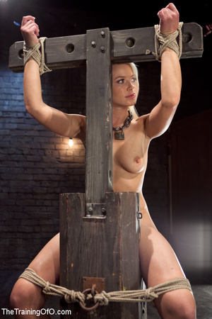 Blonde enslaved girl gets roped and stretched and her cooch tortured badly with a huge vibrator - XXXonXXX - Pic 2