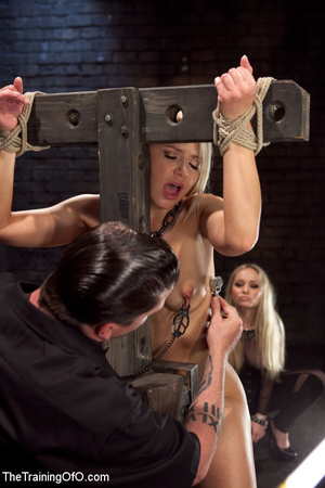 Blonde enslaved girl gets roped and stretched and her cooch tortured badly with a huge vibrator - XXXonXXX - Pic 7