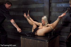 Blonde enslaved girl gets roped and stretched and her cooch tortured badly with a huge vibrator - XXXonXXX - Pic 11