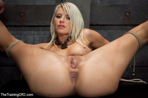 Blonde enslaved girl gets roped and stretched and her cooch tortured badly with a huge vibrator - XXXonXXX - Pic 12