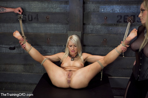 Blonde enslaved girl gets roped and stretched and her cooch tortured badly with a huge vibrator - XXXonXXX - Pic 14