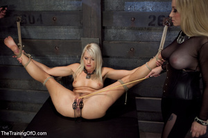 Blonde enslaved girl gets roped and stretched and her cooch tortured badly with a huge vibrator - XXXonXXX - Pic 15