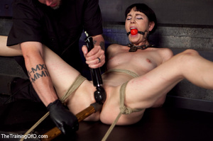 Brunette girl gets jeered and punished badly with ropes and various clams before dirty banging in the basement - XXXonXXX - Pic 9