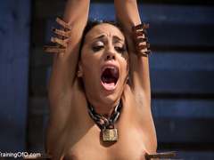 Brunette hot chick roped and hang with pin all - XXXonXXX - Pic 8