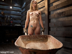 Blonde naked girl gets jeered by her master with - XXXonXXX - Pic 4