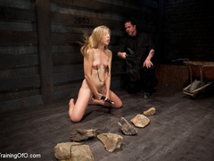 Blonde naked girl gets jeered by her master with - XXXonXXX - Pic 5