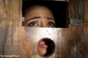 Poor girl with a wodden box with hole on her head sitiing on a fucking machine when master caning her heels - XXXonXXX - Pic 8