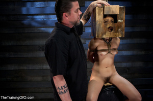 Poor girl with a wodden box with hole on her head sitiing on a fucking machine when master caning her heels - XXXonXXX - Pic 10
