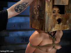 Poor girl with a wodden box with hole on her head - XXXonXXX - Pic 14