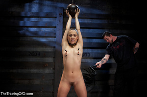 Hot chick with a gag-ball and her feet stretched and shackled gets fucked hard with a dildo stick - XXXonXXX - Pic 5