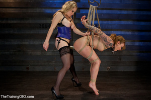 Horny mistress in a blue corset and her master assistant banging hard cool blonde chick roped and with a blindfold - XXXonXXX - Pic 5