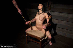 Tattooed brunette chick gets roped and hard fucked by her two masters in their basement - XXXonXXX - Pic 1