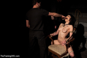 Tattooed brunette chick gets roped and hard fucked by her two masters in their basement - XXXonXXX - Pic 4