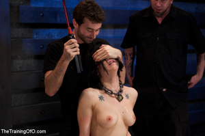 Tattooed brunette chick gets roped and hard fucked by her two masters in their basement - XXXonXXX - Pic 5