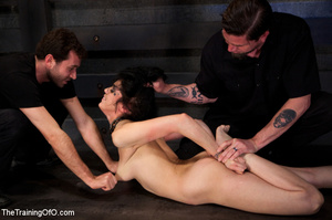 Tattooed brunette chick gets roped and hard fucked by her two masters in their basement - XXXonXXX - Pic 10