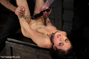 Tattooed brunette chick gets roped and hard fucked by her two masters in their basement - XXXonXXX - Pic 12