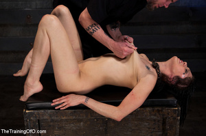 Tattooed brunette chick gets roped and hard fucked by her two masters in their basement - XXXonXXX - Pic 13